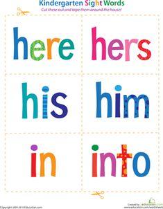 Kindergarten Reading & Writing Worksheets: Kindergarten Sight Words: Here to Into
