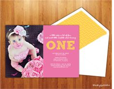 First Birthday Photo Invitation - Printable JPEG - 5x7 Birthday Invitation - Babys First Birthday - Pink Yellow Picture Announcement. $15.00, via Etsy.