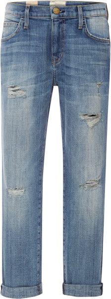 Current/elliott Blue The Fling Distressed Jeans