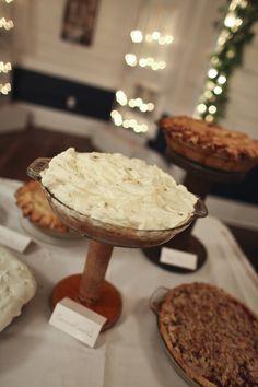 Vintage wedding - desert table - pies on old spools