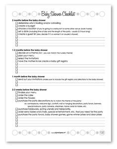 Free Printable #Baby #Shower #Planning #Checklist. | Baby Shower ...