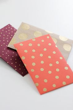 I love these gold-dotted envelopes - now I just need some gold paint...do I have any in my stash?