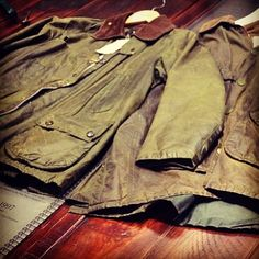Barbour Jackets being reproofed. Old Barbours are the best Barbours.