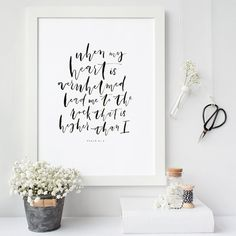 Psalm 61:2 Hand Lettered Print Bible Verse by ThePaperMountainCo