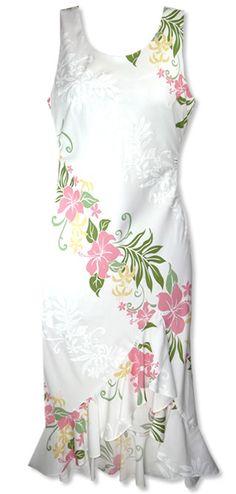 Nani Loa Luau White Hawaiian Dress- pretty! Maybe make this with my fabric from Hawaii only make more A line