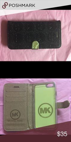 MK Metallic Black Book  Style IPhone 7 Case MK Metallic Black Book Style IPhone 7 Case without Wristlet Strap Accessories Phone Cases