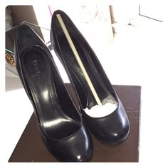 """Bebe Black Platforms These are in excellent condition with only some wear shown on soles. They are 4"""" platforms, and Come with original box. bebe Shoes Platforms"""