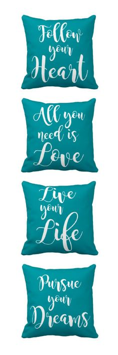 Pillows quotes in turquoise