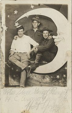 Three Young Men on a Paper Moon Real Photo Postcard *at the Happy Hollow park by Photo_History, via Flickr