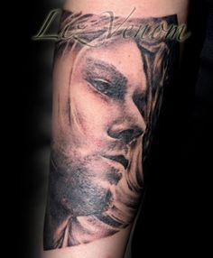 Kurt Cobain portrait by Liz Venom from Bombshell Tattoo in Edmonton, AB - Canada