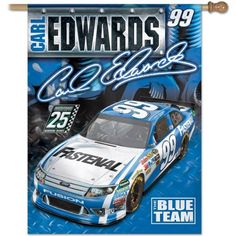 """NASCAR Carl Edwards 27-by-37 Inch Vertical Flag by WinCraft. $24.99. Officially licensed flag. Designed to hang vertically from an outdoor pole or inside as wall decor. Durable polyester flag measures 27"""" x 37"""" with a 2.5"""" pole sleeve. Machine washable. Poles and hardware available separately. Made in USA."""
