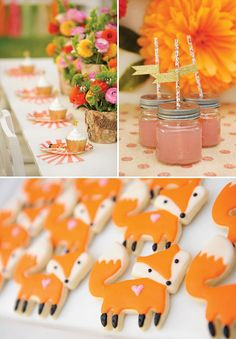 Crafty & Enchanting Floral Fox Birthday Party. We're loving all these details! From cupcakes, to beverages, to cookies.