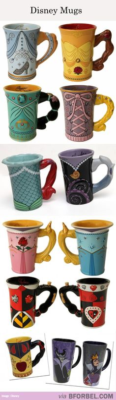13 Different Disney Mugs. I think Belle's my favourite one out of the lot, but can you imagine the handle on Merida's? (Yeah, yeah, Pixar not disney don't care) Walt Disney, Disney Pixar, Disney Mugs, Disney And Dreamworks, Disney Films, Disney Love, Disney Characters, Disney Stuff, Disney Coffee Mugs