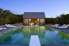 Simple pool and pool house New England a beach house designed by Ike Kligerman Barkley