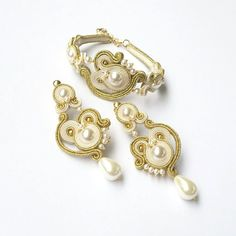 Dangling soutache earrings; Soutache earrings with Swarovski; Bridal earrings; Romantic earrings; Gold and ecru earrings; Soutache set