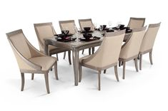 Gatsby 9 Piece Dining Set With Swoop Chairs | Dining Room Sets | Dining Room | Bob's Discount Furniture