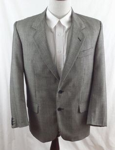#theSmartShoppe Molvi Milan by Euro-Suit Mens 40 S Gray Black 100% Cool Wool Sport Coat Blazer  #MolviMilanbyEuroSuit #TwoButton
