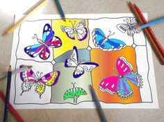 butterflies adult coloring page stained glass pattern instant download colouring meditation zen printable print digital lasoffittadiste