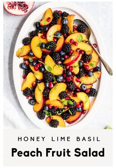 Honey Lime Basil Peach Fruit Salad Gorgeous honey lime basil peach fruit salad made with fresh peaches, blackberries, blueberries and pomegranate. This summer peach fruit salad recipe is lightly tossed with honey, lime juice, and fresh basil leaves for a fresh, perfectly side that's perfect for bbq's and parties! Healthy Summer Recipes, Summer Salad Recipes, Fruit Salad Recipes, Fruit Salads, Lime And Basil, Fresh Basil, Healthy Fruits, Healthy Snacks, Fruit Salad Ingredients
