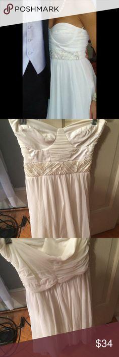 Asos Dress UK 6 (US 2) beaded white ASOS strapless dress ASOS Dresses Strapless