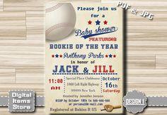 Baseball Baby Shower Invitation - Baby Shower Invitation sport Printablet All Star for Boy or girl, Baseball Vintage, Invites - bb2 by DigitalitemsShop on Etsy
