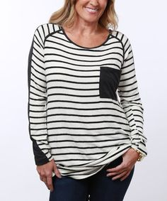 Ivory Stripe Suede-Accent Tunic