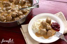 swedish meatballs over whippy mashed potatoes - www.afarmgirlsdabbles.com