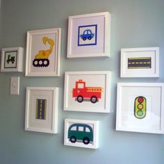 I could easily make something like this for the kids rooms - automobile silhouettes with Ikea frames Boy Toddler Bedroom, Big Boy Bedrooms, Toddler Rooms, Baby Boy Rooms, Kids Rooms, Childrens Bedroom, Car Bedroom Ideas For Boys, Toddler Boy Room Ideas, Boy Car Room