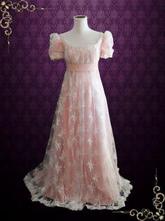 Ready to Ship Pink Lace Regency Style Ball Gown Wedding Dress Vintage Style Wedding Dresses, Vintage Gowns, Mode Vintage, Wedding Gowns, Vintage Outfits, Wedding Lace, Trendy Wedding, Mermaid Wedding, Ball Gown Dresses