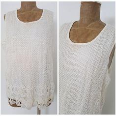 New Studio West Tank Top Size 3X Plus Crochet Lace White Beach Shirt Blouse  #StudioWest #Blouse #Casual