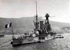 WW1 vintage battleship Provence - sunk in harbour by the Royal Navy at Mers el Kebir in Algeria on 3 July 1940 when the British neutralised the surrendered French fleet to prevent its handover to the Germans. She was later raised and moved to Toulon, though was scuttled in 1942 when the Germans invaded Vichy France.