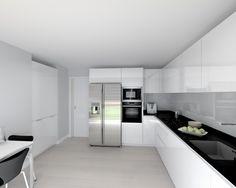 Modelo Line Laminado Blanco Brillo Encimera Granito Negro, Kitchen Pantry Design, Home Decor Kitchen, New Kitchen, Interior Design Living Room, Kitchen Knobs, Kitchen Cabinet Storage, Modern Kitchen Interiors, Elegant Kitchens, Closed Kitchen