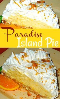 It takes minimal effort to make this citrus-laced Paradise Island Pie that's sure to bring sunshine to your desserts any day of the week. Menu Desserts, No Bake Desserts, Just Desserts, Dessert Recipes, Dessert Ideas, Icebox Desserts, Coconut Desserts, Recipes Dinner, Breakfast Recipes