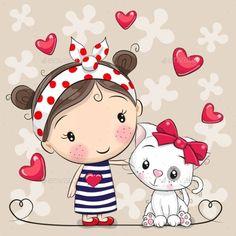 Cartoon Cartoon, Cute Cartoon Girl, Cartoon Drawings, Animal Drawings, Art Drawings For Kids, Drawing For Kids, Cute Drawings, Cartoon Mignon, Art Mignon