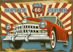 Route 66 Sign, Gas Pumps, Poster Wall, Wood Signs, Antique Cars, 1940s, Decoupage, Kicks, Posters