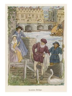 Illustration with Old London Bridge in background.