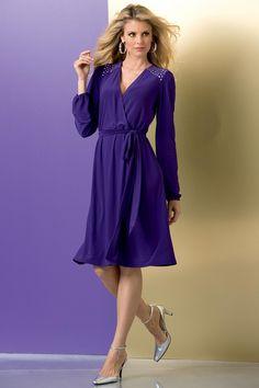 Shop metrostyle for unique dresses for fabulous fashionistas! Get career dresses and party dresses in misses, petite, plus & tall sizes. Beautiful Color Combinations, Colour Pallete, Unique Dresses, Party Dress, Shoulder Dress, Gowns, Formal, Chic, Purple