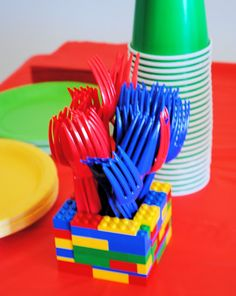 Cute idea for the little ones. Lego Birthday Party ~ make Lego utensil holders