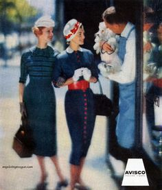 Dresses in Avisco fabrics by Vicky Vaughns, 1957