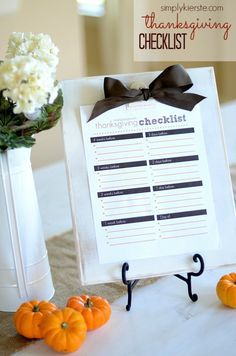Thanksgiving Checklist Free Download
