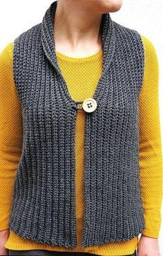 Crochet Dresses Design Crochet Vest / Häkelweste Crochet pattern by Oksik - Diy Crafts Crochet, Crochet Yarn, Easy Crochet, Crochet Stitches, Crotchet, Crochet Vest Pattern, Crochet Cardigan, Crochet Patterns, Crochet Vests