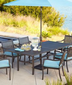 Super simple patio set. Add chaise lounges and swap a bench for 2 of the chairs. Place the 2 chairs off to the side as extra seating.