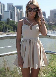 Cream Strappy Sleeveless Dress with Velvet Detail & Pleat Sk,  Dress, sleeveless dress  mini  cutout  pleated, Chic