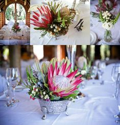 Making Wedding Planning Easy Protea Wedding, Floral Wedding, Wedding Bouquets, Wedding Flowers, Wedding Table Decorations, Flower Decorations, Wedding Centerpieces, Protea Centerpiece, Wedding Book