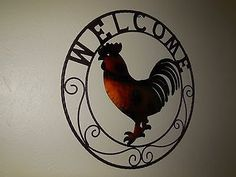 """24"""" ROOSTER WELCOME WITH RING DESIGN WESTERN METAL ART HOME WALL DECOR BRAND NEW"""