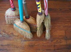 vintage brooms, love the colours!