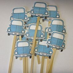 VW bug cupcake toppers birthday boy blue Volkswagen set of 12