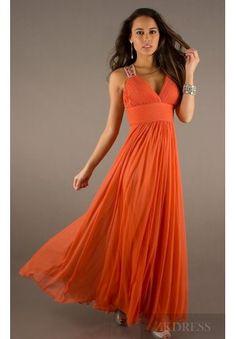Cute V-neck Orange Sleeveless Long A-Line Evening Dress zkdress26064