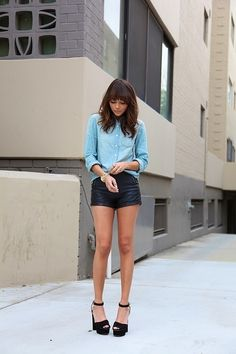 Leather short and jeans blouse