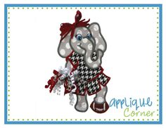 68b1bfe84a559 710 Elephant Standing Girl Mascot 3D Football applique digital design for  embroidery machine by Applique Corner